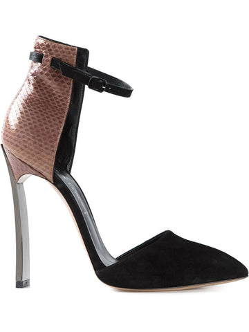 Stiletto with suede and brown croc embossed leather