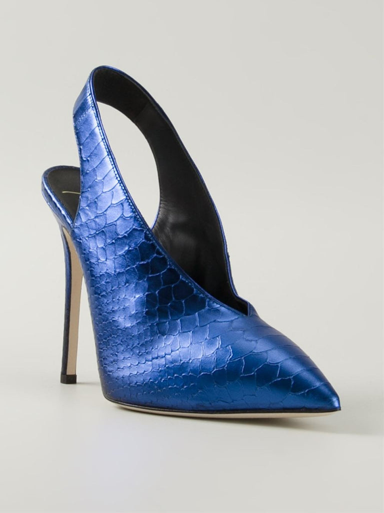 Metallic slingback pump blue