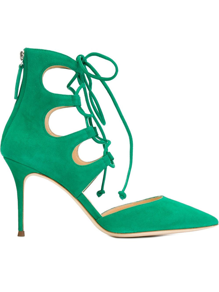 Green Suede strap pump