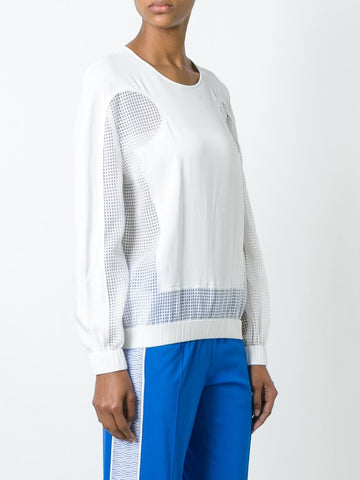 open knit panel blouse