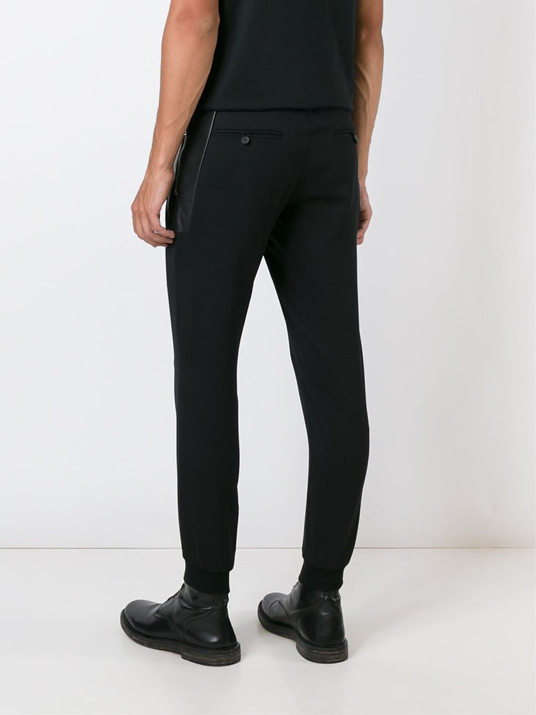 Black pants with leather panel