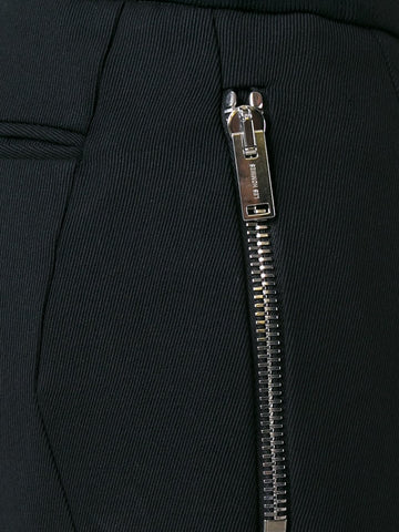Wool pants with leather detail
