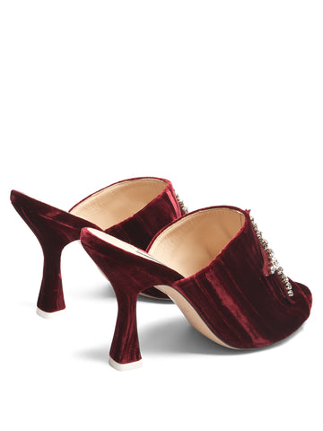 Velvet burgundy mules from Attico