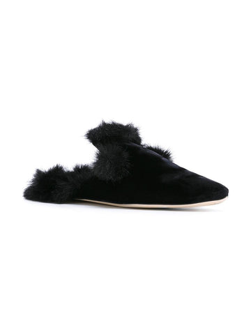 Fur trim slippers