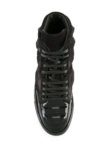 Black suede sneakers with patent