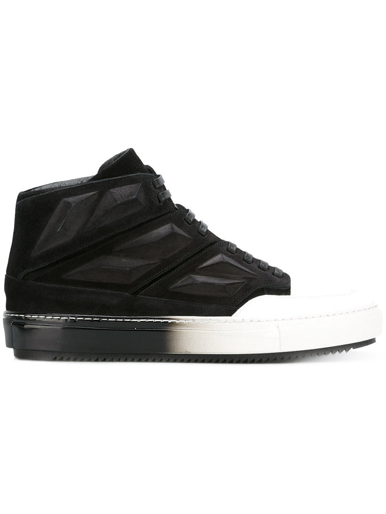 BLACK/WHITE SUEDE SNEAKERS WITH PATENT