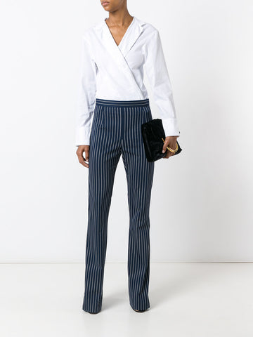 Striped high-waisted trousers