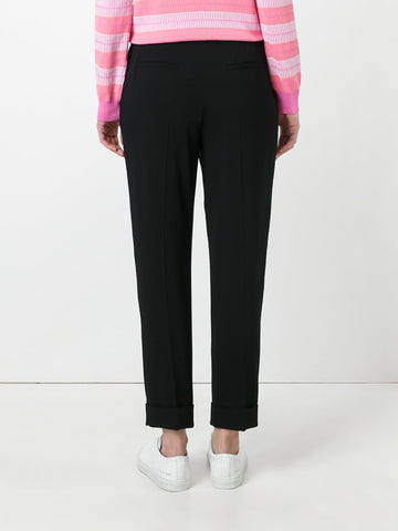 Black tailored track pants with rings