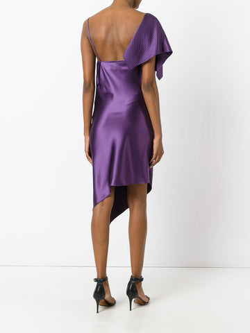 Purple draped one sleeve dress from Area