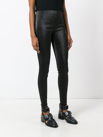 Black  textured leggings