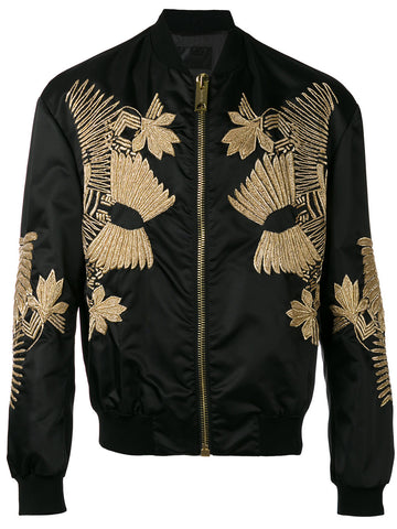 BLACK embroidered bomber jacket RUNWAY COLLECTION FROM LES HOMMES