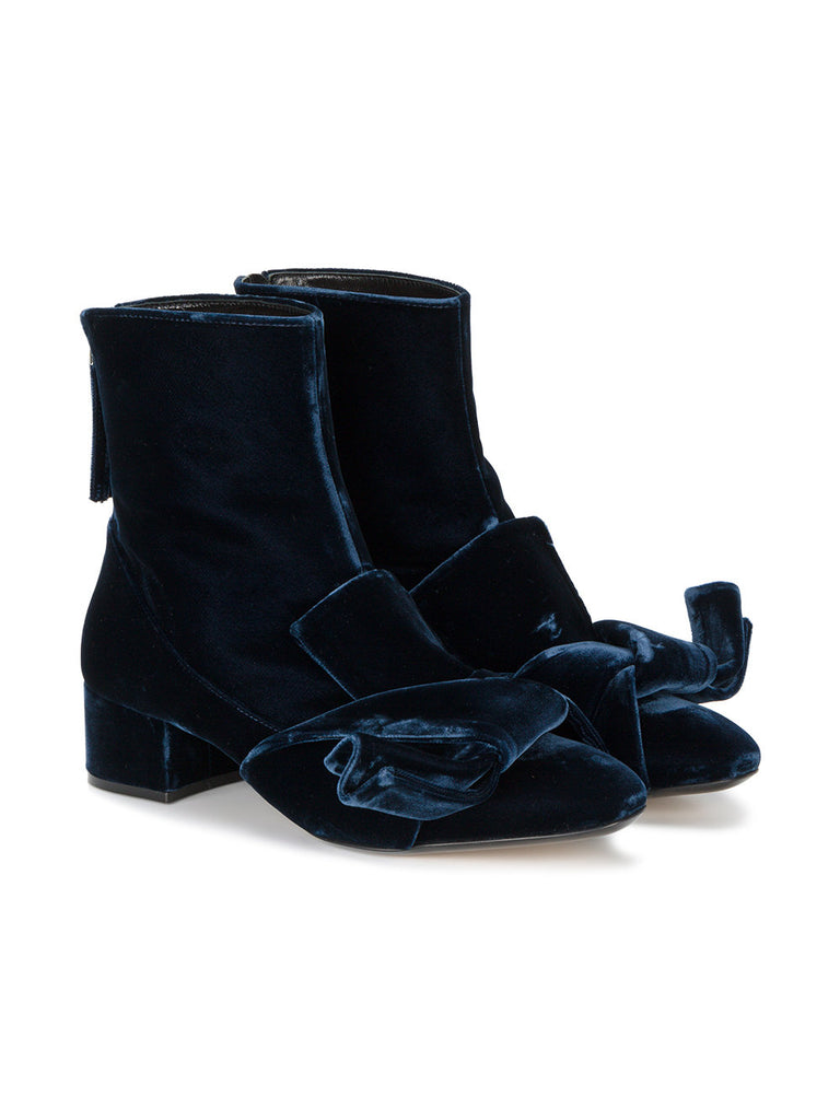 NAVY BLUE VELVET BOOT WITH BOW FROM NO21