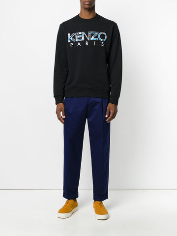 BLACK SWEATSHIRT WITH BLUE KENZO PATCHWORK LOGO