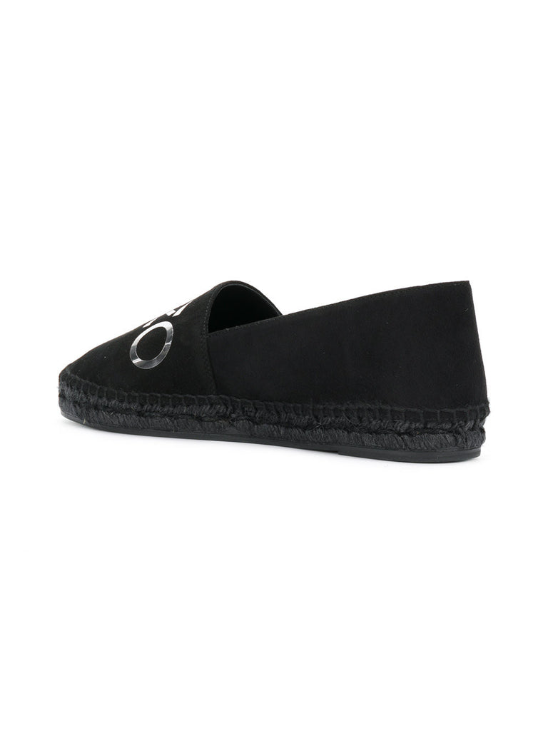 BLACK SUEDE KENZO ESPADRILLES WITH SILVER LOGO