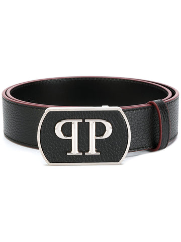 Black leather belt with silver logo from PHILIPP PLEIN
