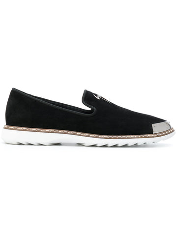 BLACK SUEDE LOAFERS WITH SILVER LOGO FROM GIUSEPPE ZANOTTI