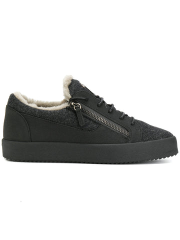 DARK GREY WOOL FELT LOW SNEAKER WITH FUR FROM GIUSEPPE ZANOTTI