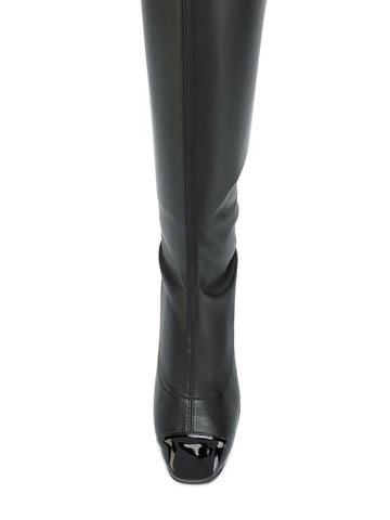 BLACK LEATHER BOOTS OVER KNEE WITH PATENT FROM GIUSEPPE ZANOTTI