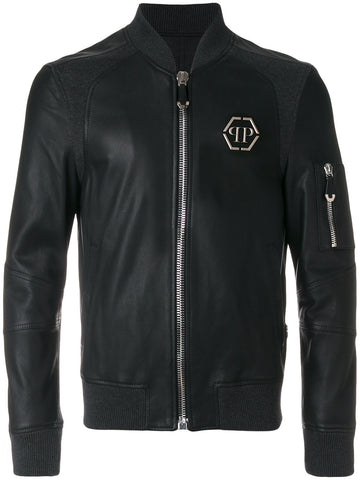 BLACK LEATHER JACKET WITH GREY KNIT BEHIND FROM PHILIPP PLEIN