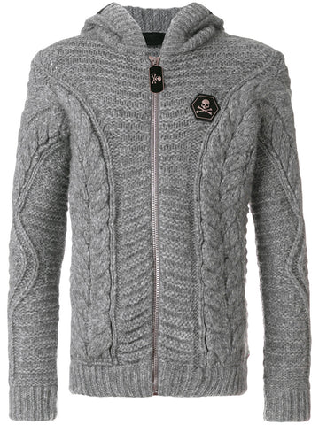 GREY CABLE KNIT WITH ZIP FROM PHILIPP PLEIN
