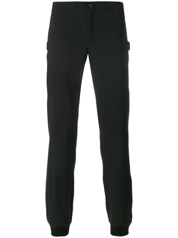 BLACK TRACKPANTS WITH LEATHER DETAIL FROM LES HOMMES