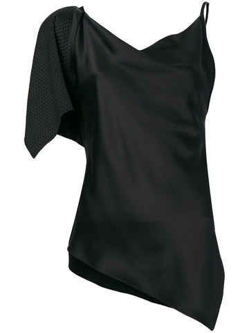 BLACK ONE SHOULDER TOP IN SILK FROM AREA