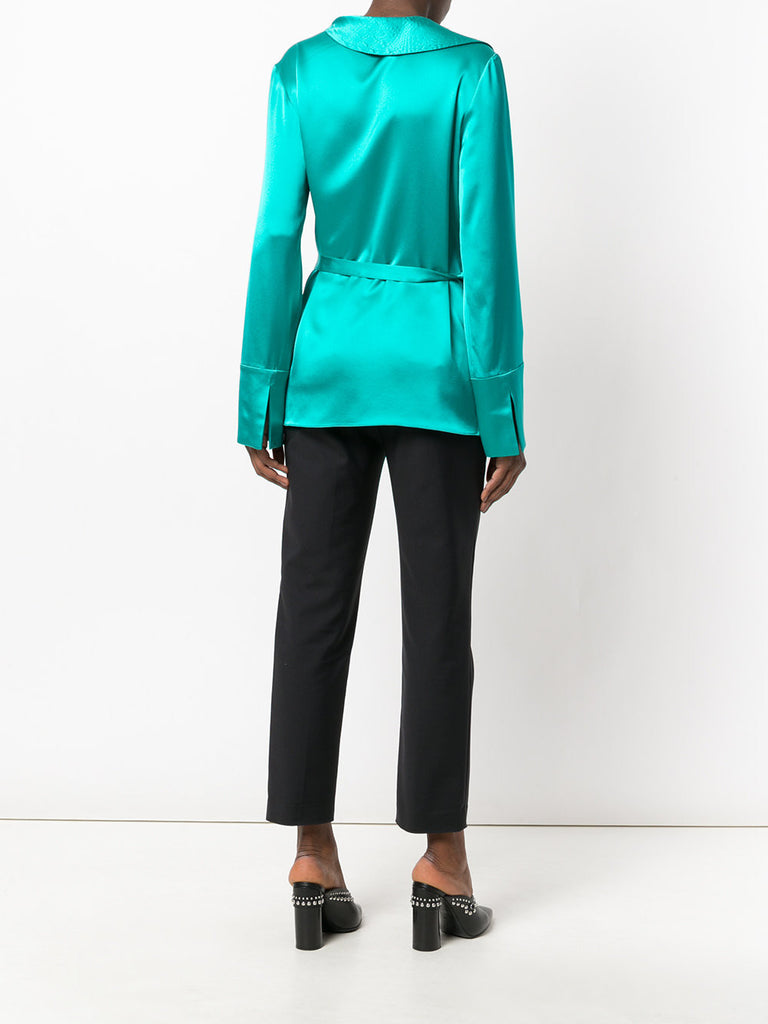 TURQUOISE SILK BLOUSE WITH RUFFLE FROM AREA