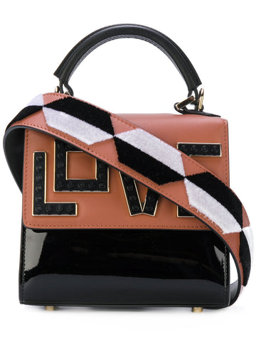Love bag brown black and white leather