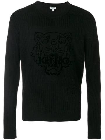 BLACK KNIT SWEATSHIRT WITH TIGER VELVET FROM KENZO