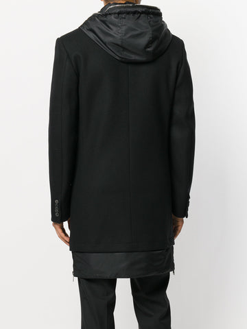 BLACK WOOL COAT WITH HOOD FROM LES HOMMES