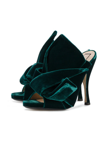 GREEN VELVET MULES WITH BOW FROM NO21