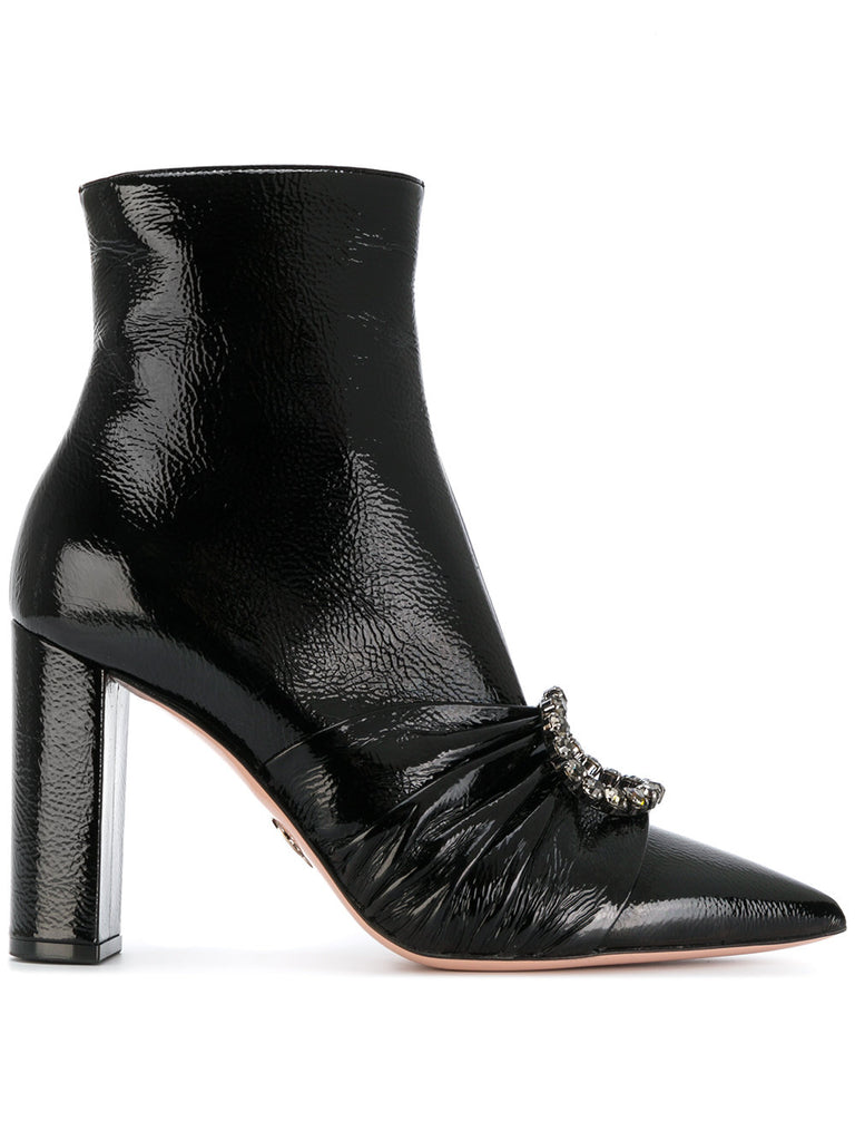 BLACK PATENT LEATHER BOOT WITH WHITE STONES BROSCHE FROM OSCAR TIYE
