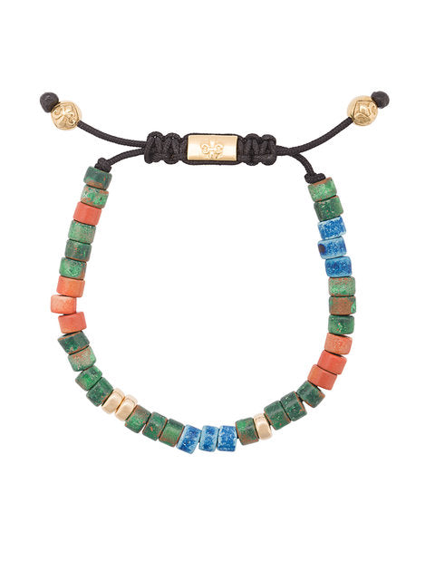 GREEN BLUE AND RED CERAMIC STONE BRACELET FROM NIALAYA