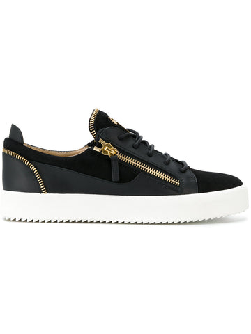 BLACK LOW SUEDE ZIP SNEAKER FROM GIUSEPPE ZANOTTI