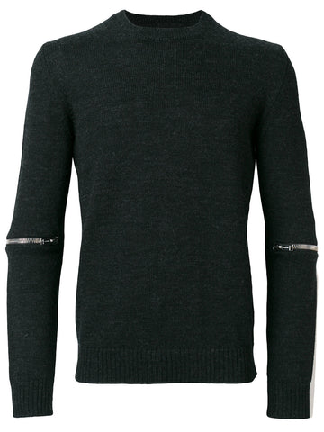 Grey wool zip knitwear