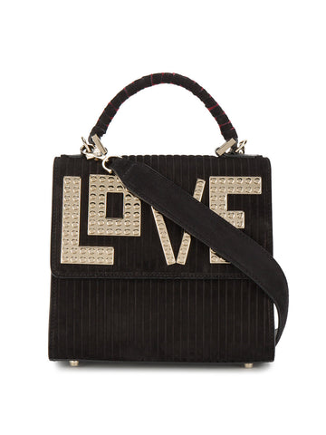 BLACK SUEDE GOLD LOVE BAG FROM LES PETITS JOUEURS