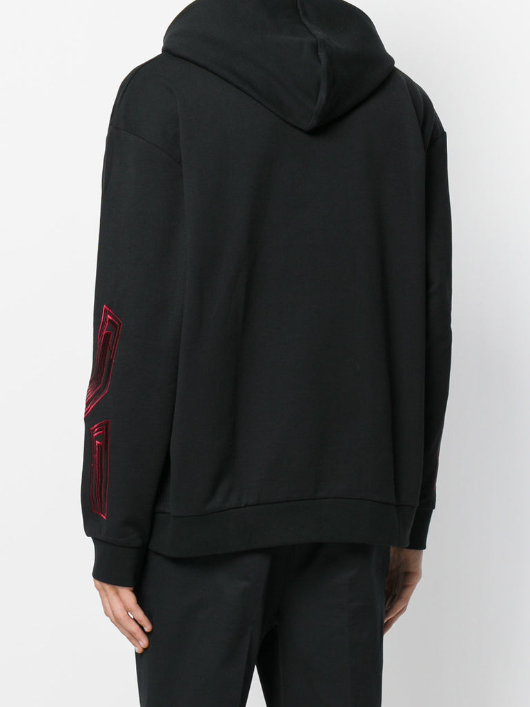 BLACK HOOD SWEAT WITH RED EMBROIDERY FROM LES HOMMES
