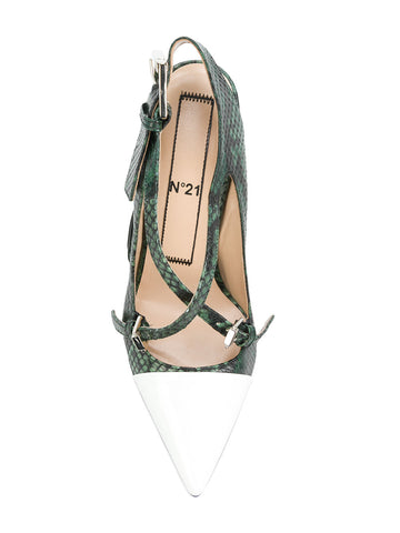 GREEN STILTTO IN SNAKE LOOK AND WHITE PATENT FROM Nº21