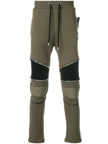 GREEN TRACK PANTS WITH BLACK DETAIL FROM PHILIPP PLEIN