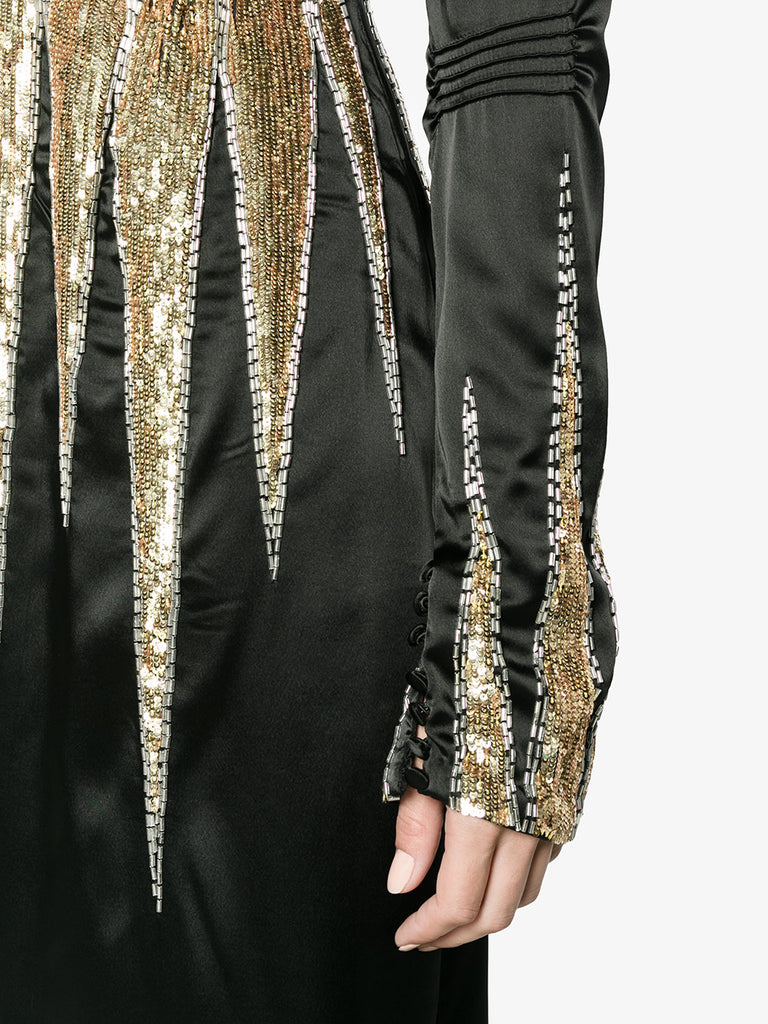 BEYONCE BLACK SEQUIN GOLD DRESS FROM ATTICO