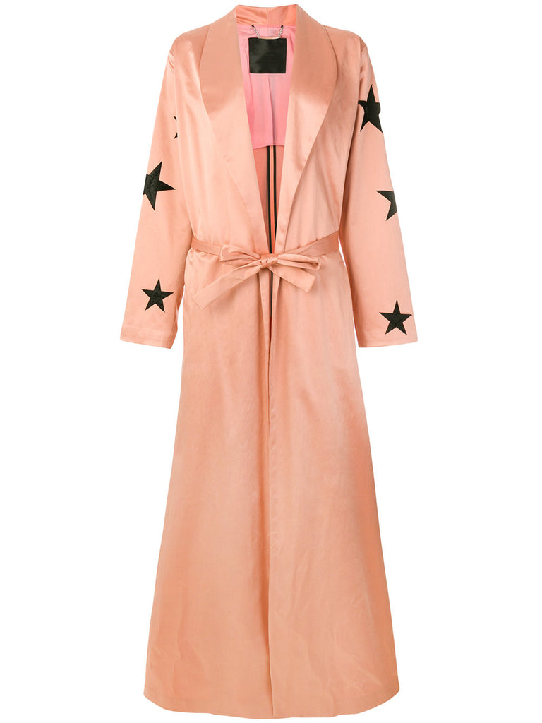 long plein coat in peach with stars from philipp plein