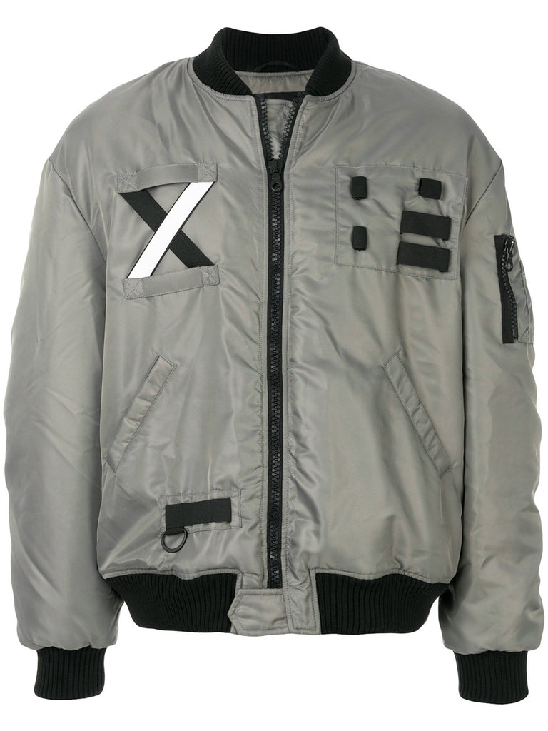 GREY BOMBER JACKET WITH CROSS BAND FROM LETASCA
