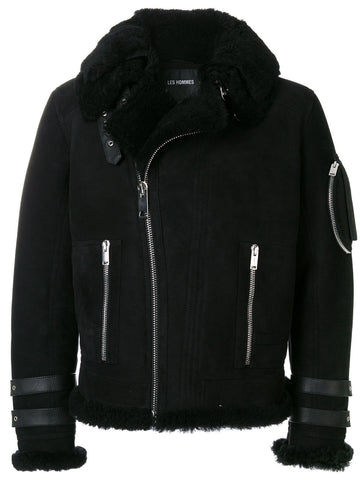 Black Shearling jacket from les hommes