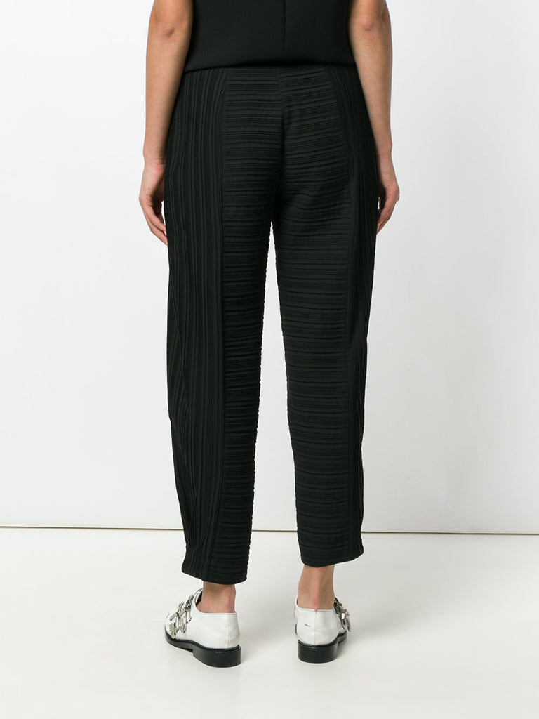 BLACK RIBBED SILK PANTS FROM VICTORIA VICTORIA BECKHAM