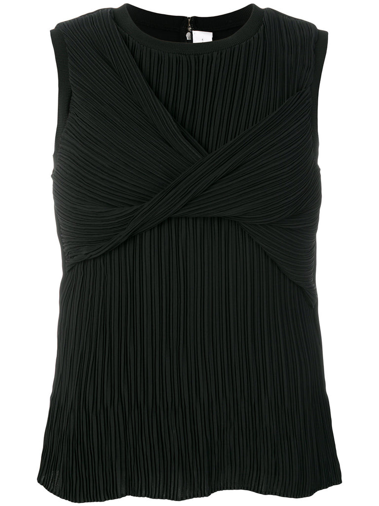 BLACK SILK PLEATED TOP FROM VICTORIA VICTORIA BECKHAM