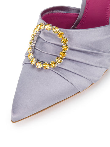 LILAC MULE SLIPPERS WITH YELLOW BROSCHE STONE FROM OSCAR TIYE