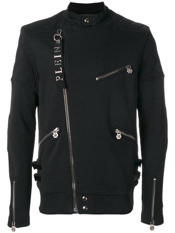 BLACK SOFT BIKER JACKET WITH ZIP DETAILS FROM PHILIPP PLEIN