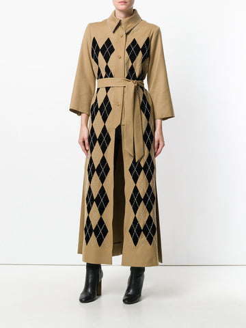 CAMEL VIRGIN WOOL COAT WITH PEARLS FROM ATTICO