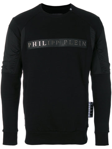 BLACK SWEATSHIRT WITH SILVER LOGO FROM PHILIPP PLEIN