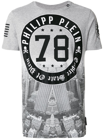 GREY 78 TSHIRT WITH BLACK STONES FROM PHILIPP PLEIN